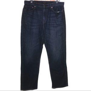 """Uniqlo dark wash high rise jeans size 32"""" EUC"""